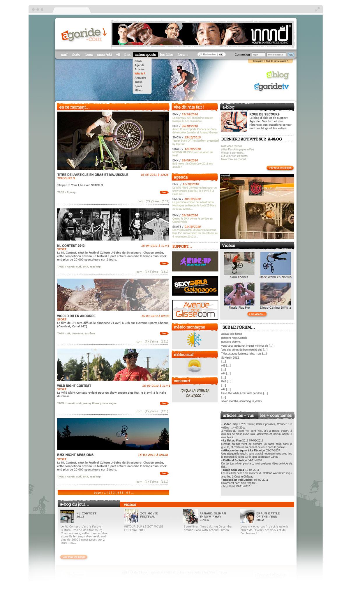 Agoride - Sports extrêmes - BMX - Skate - Surf - Snow - Ski - VTT - Olivier Varma - ovarma creative studio