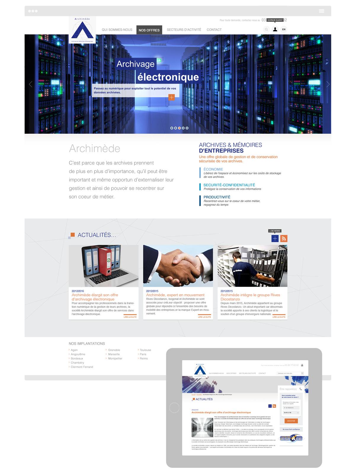 Archimède - Page intérieure - Web design Olivier Varma
