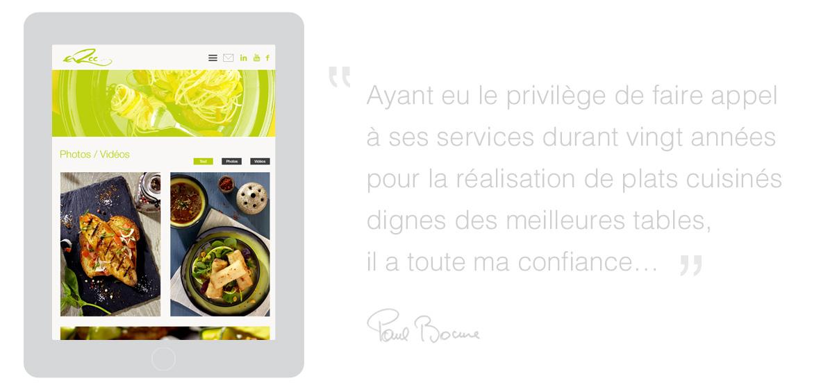 ERCC - Site internet - Conseil culinaire - iPad - © ovarma.com