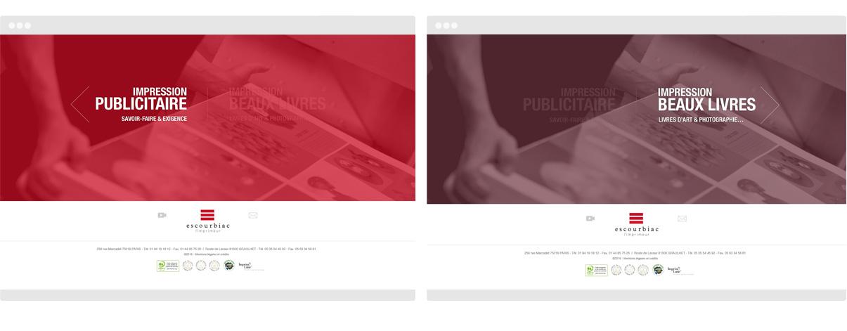 Imprimerie Escourbiac - 2 Homepages - Olivier Varma - graphiste freelance © www.ovarma.com