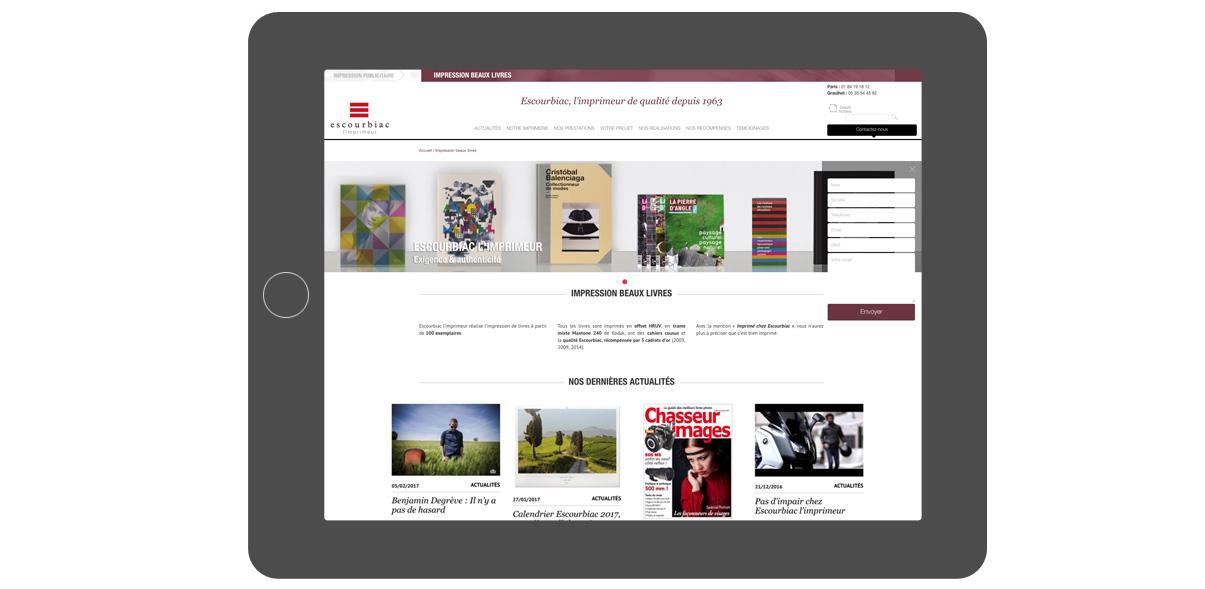 Imprimerie Escourbiac - iPad - Impression beaux livres - Olivier Varma - graphiste freelance © www.ovarma.com