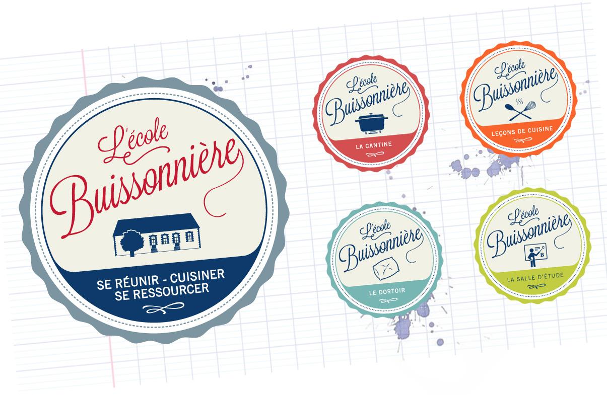 L'École Buissonnière - Graphic design, logotype, cours de cuisine, évènements, Blois