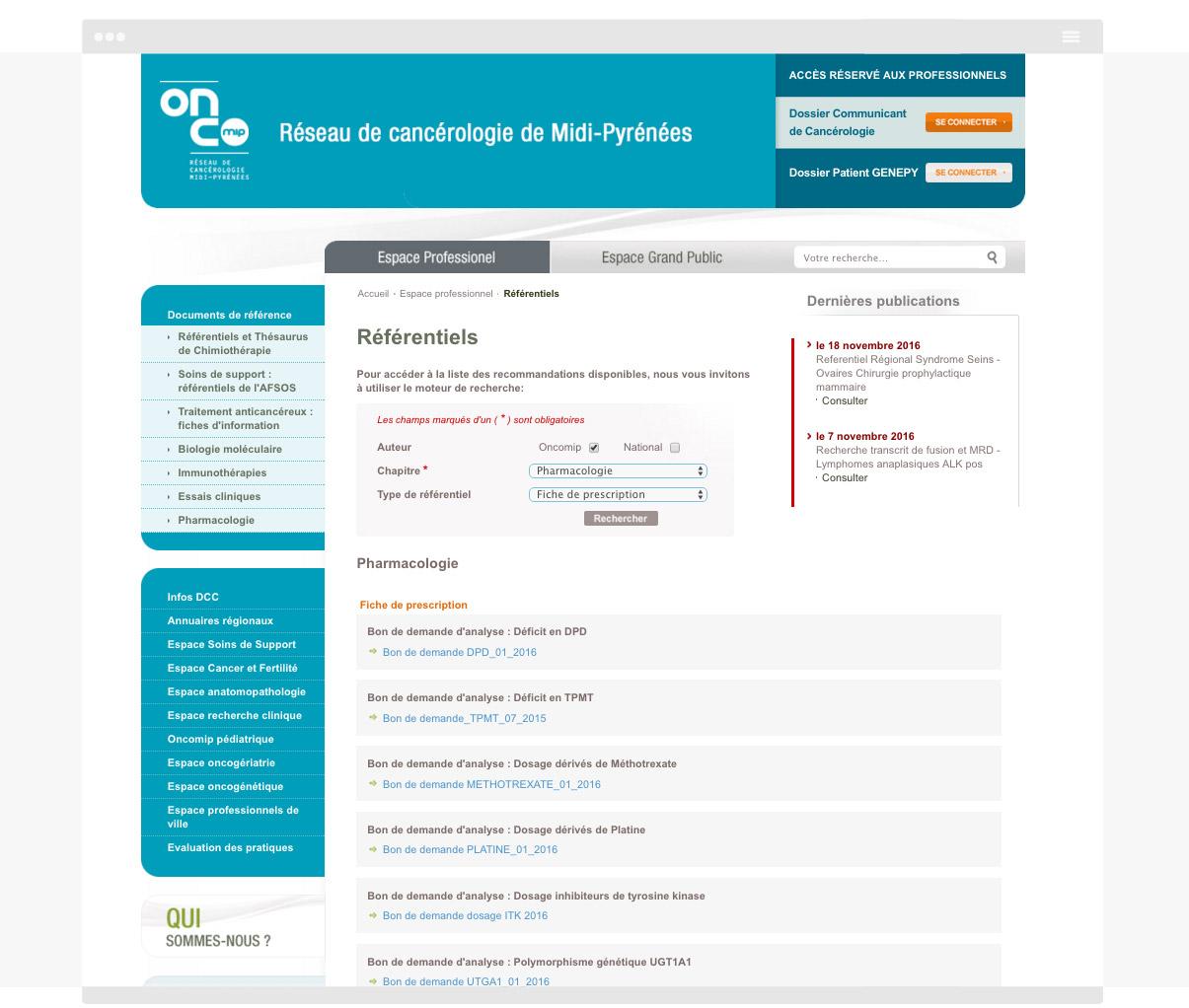 Oncomip - Page intérieure - Web design Olivier Varma