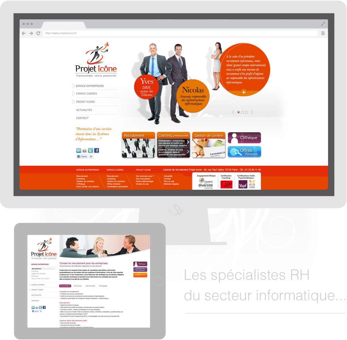 Projet Icone - site internet - Drupal - Direction artistique - Web design -Toulouse