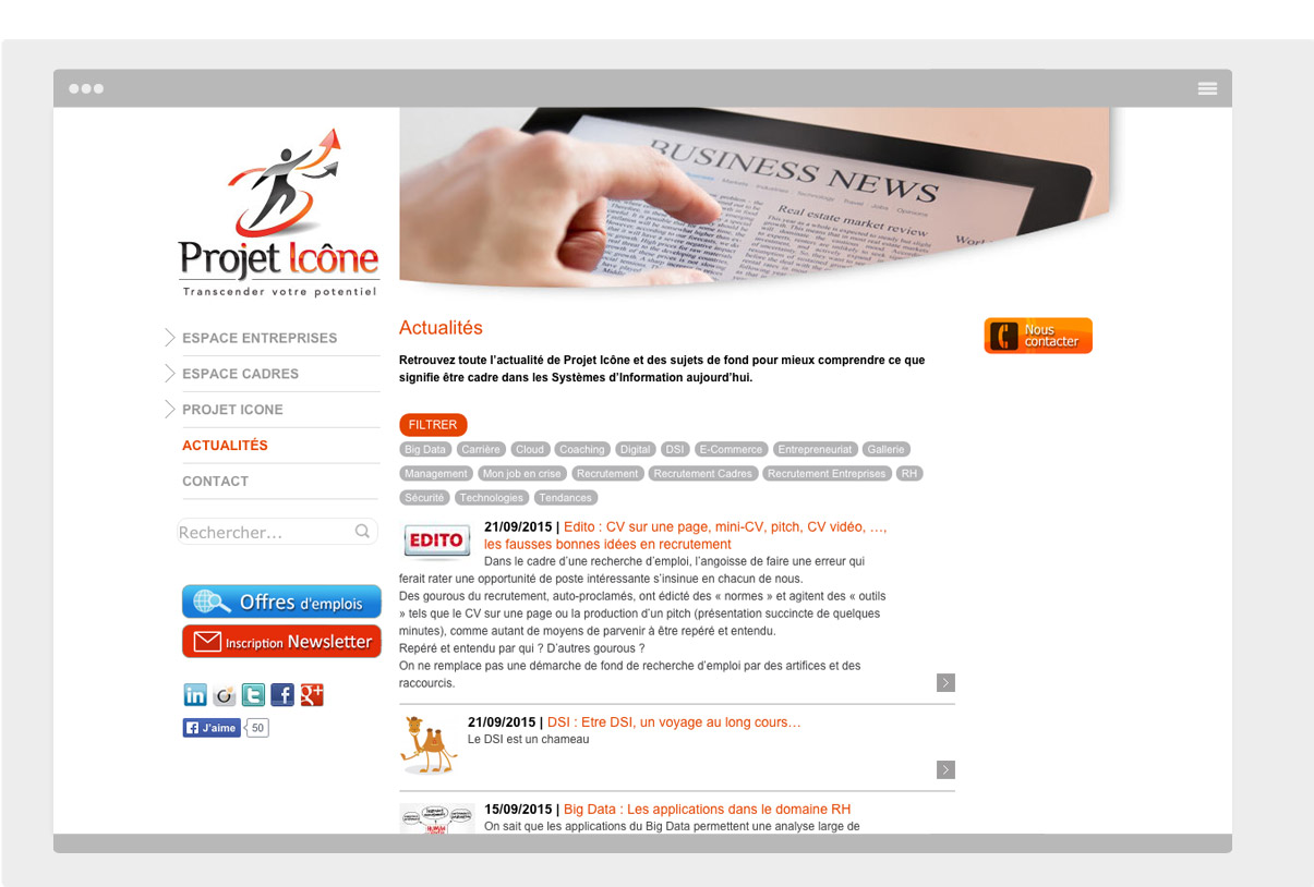 Projet Icone - site internet - D.A - Web design -Toulouse