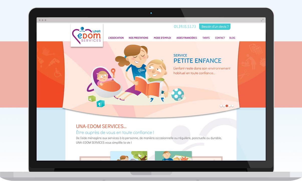 Una edom Service, site internet, Wordpress, D.A, web design, services à la personne, aide à domicile…