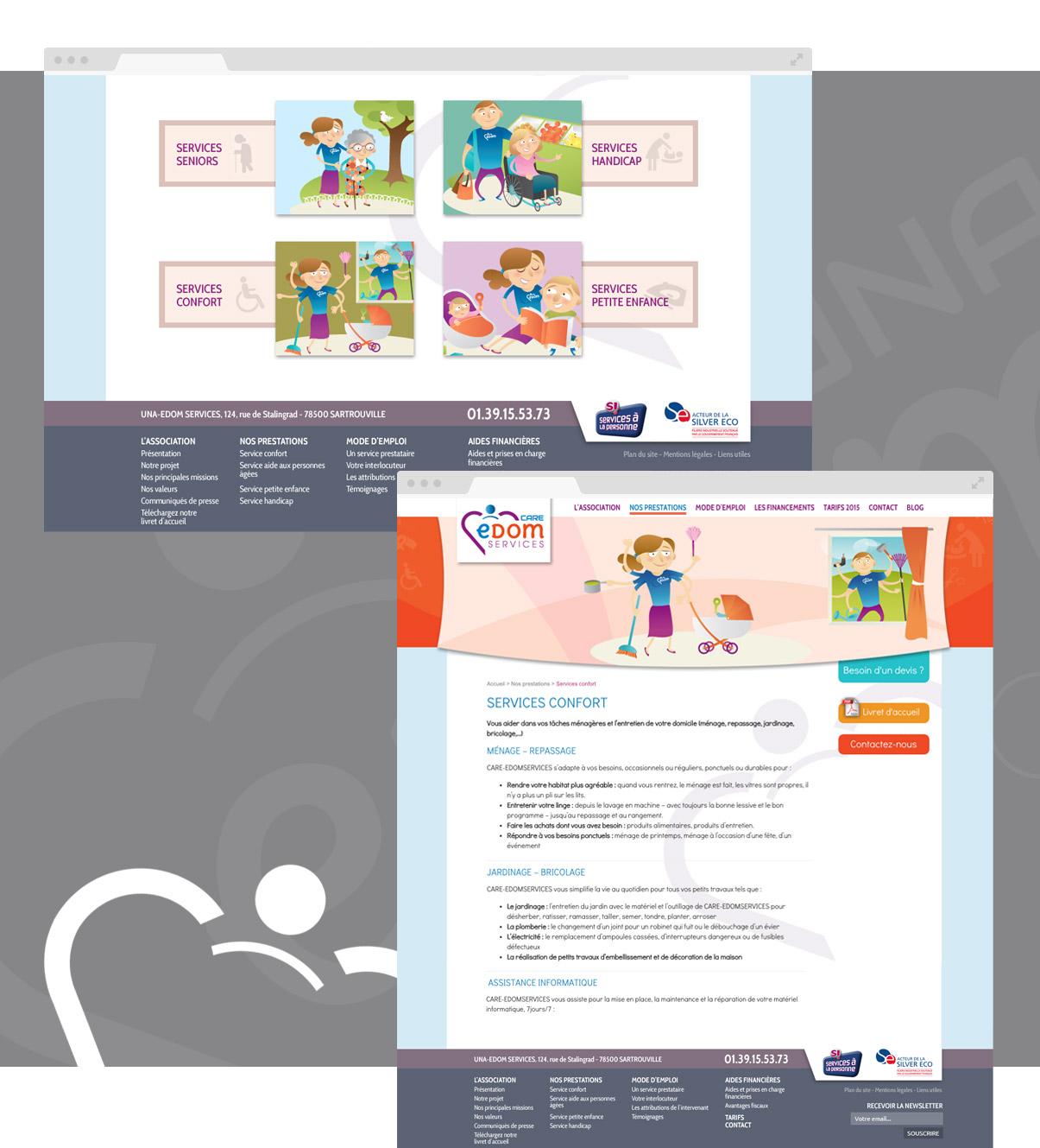 Una edom Service, site internet, Wordpress, direction de création, web design, services à la personne, aide à domicile…